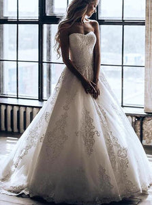 Princess Strapless Ball Gown Wedding Dress With Appliques OW426