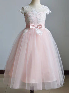 Cute A-line Scoop Lace Tulle Pink Flower Girl Dress With Bowknot OF137