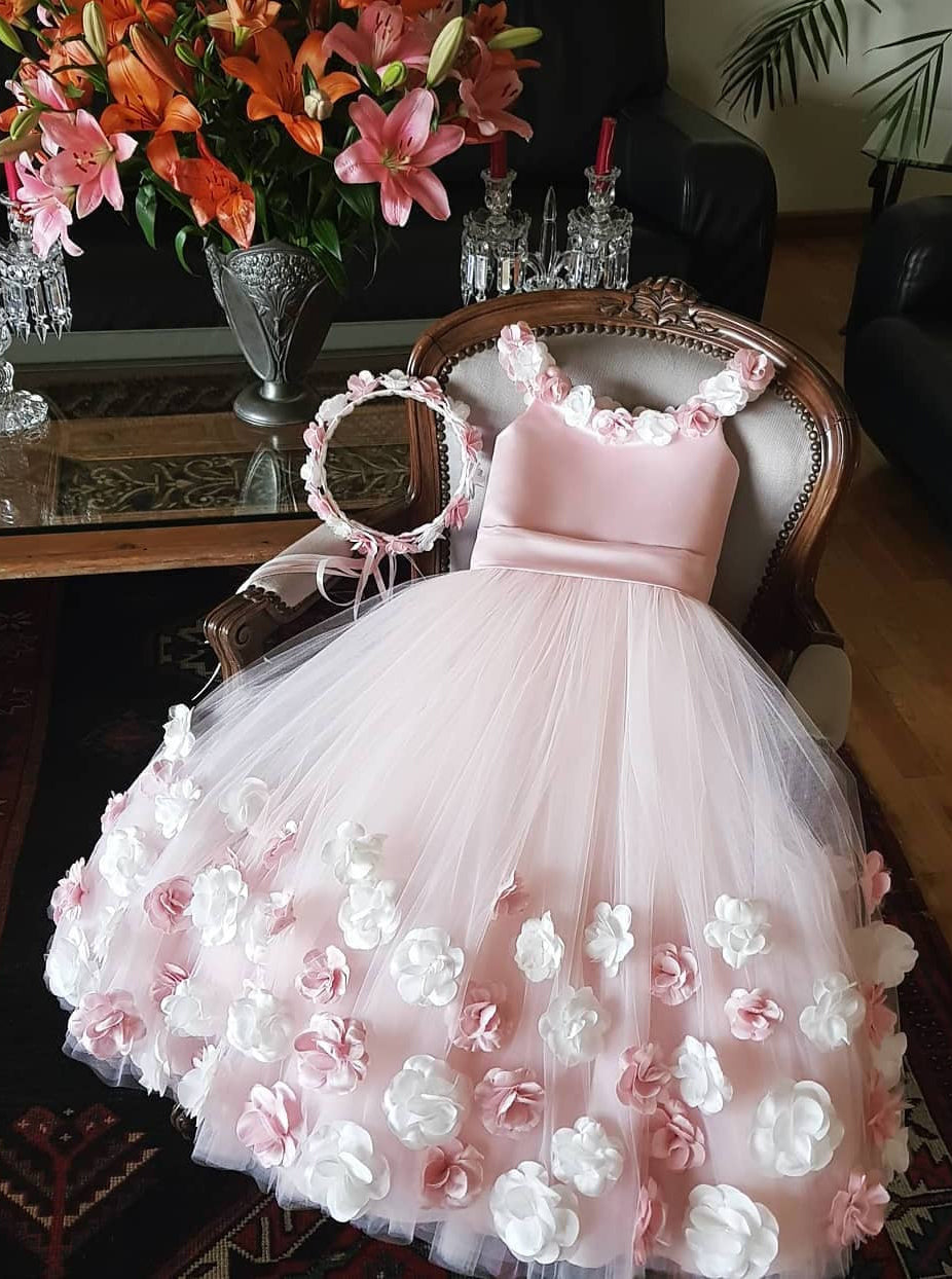 Cute Pink Tulle 3D Floral Appliques Princess Flower Girl Dress OF136