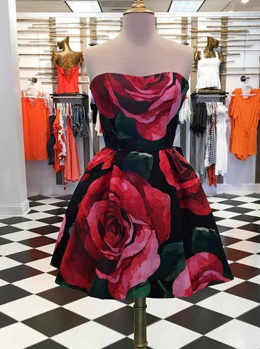 Strapless Short Prom Dresses Floral Print Homecoming Dress OM219