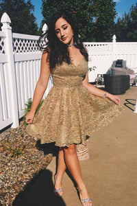 Gold Lace V-neck Short Prom Dresses Homecoming Gown OM212