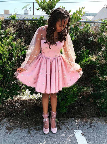 Starry Night Pink Sweet 15 Dresses Glitter Star Long Sleeves Homecoming Dresses OM209