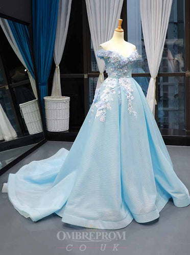 Off-the-Shoulder Light Blue Prom Dress 3D Appliques Quinceanera Gown OP791