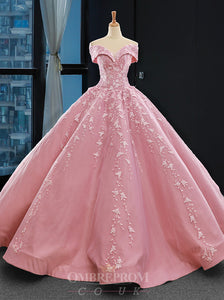 Princess Pink Ball Gown Off-the-Shoulder Appliques Prom Dress OP793