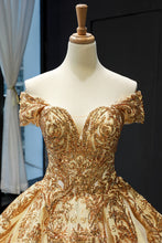 Princess Off-the-Shoulder Gold Sequins Prom Dress Ball Gown OP792