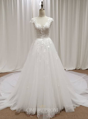 A-Line Deep V-neck Cap Sleeves Bridal Gown Lace Appliques Wedding Dress OW469