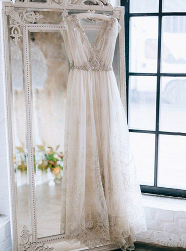 A-Line V-neck Bohemian Wedding Dresses Beading Beach Bridal Gown OW471