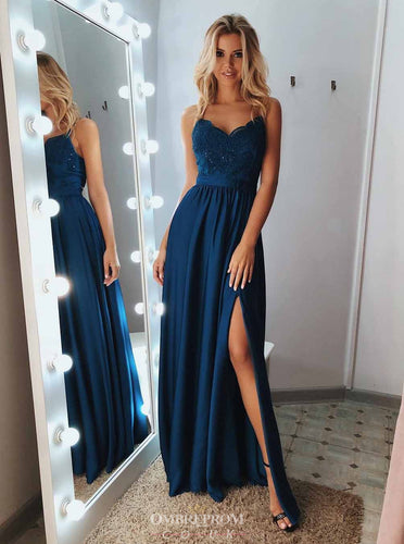 A Line Lace Appliques Blue Spaghetti Long Prom Dresses with Slit OP758
