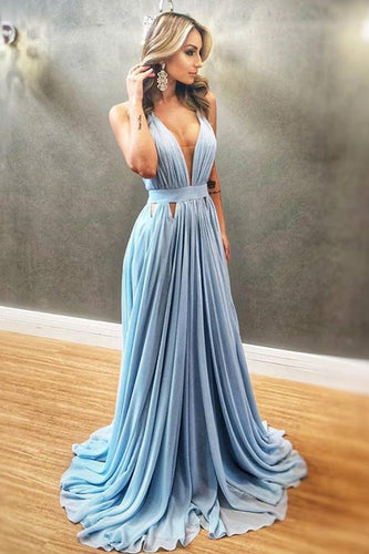 Simple Blue Chiffon V-neck Long Prom Dress,Party Formal Gowns PO450