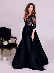 Black Lace Deep V-neck Prom Dress, 3/4 Length Sleeve Evening Dress OP1018