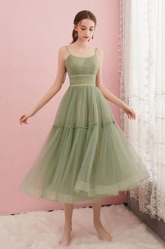 Simple Tulle Spaghetti Straps Tea A Line Length Homecoming Dresses OM602