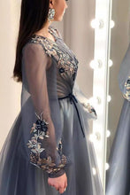 A Line Long Sleeves Appliques Prom Dresses, Formal Party Dresses PO443
