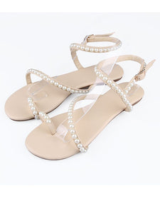 Buckle Flat Shoes Sheepskin Flat Heel Peep Toe OS137