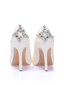 Patent Leather Pearl Rhinestone High Heels OS117