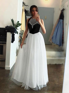 Unique Black White Tulle Halter Long Prom Dress A Line Party Dress OP409