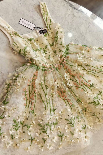 Gorgeous Flowers Appliques Short Homecoming Dresses Cocktail Dresses OM605