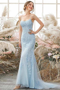Sky Blue Long Mermaid Lace Appliques Prom Dresses Evening Party Dress OP930
