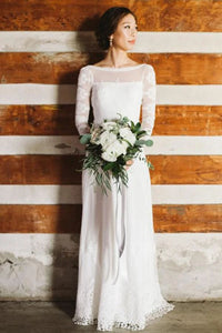 Unique Bateau Neck Long Sleeves Backless Lace Wedding Dress W712