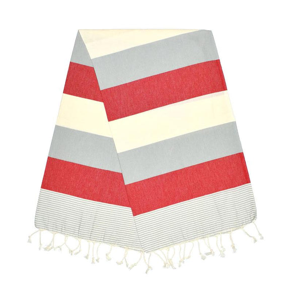 American Stone Grey Berry Red Turkish Towel