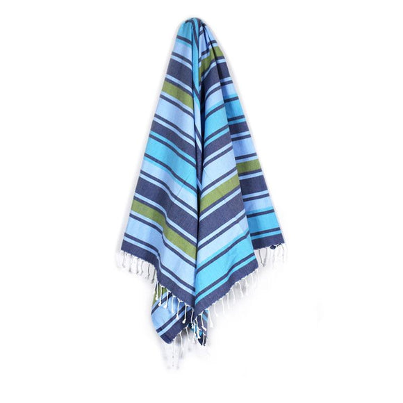 The Original Turkish Towels - Arco Iris Dark Blue Meadow Green Aqua Blue Turkish Towel
