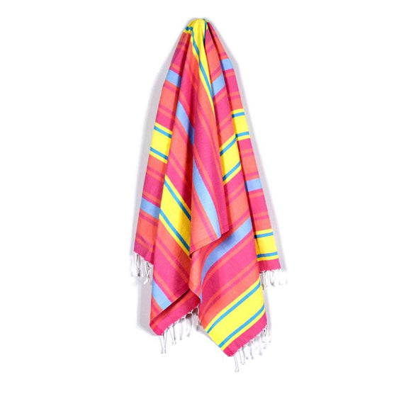 The Original Turkish Towels - Arco Iris Pineapple Yellow Turquoise Blue Baby Blue Turkish Towel