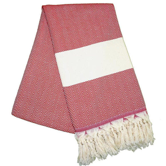 Balik Sirti Berry Red Turkish Towel