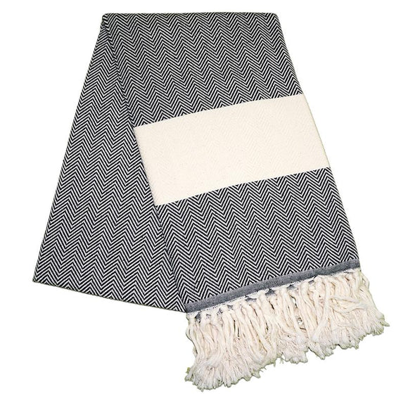 Balik Sirti Night Black Turkish Towel
