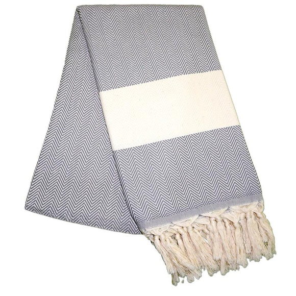Balik Sirti Pebble Grey Turkish Towel
