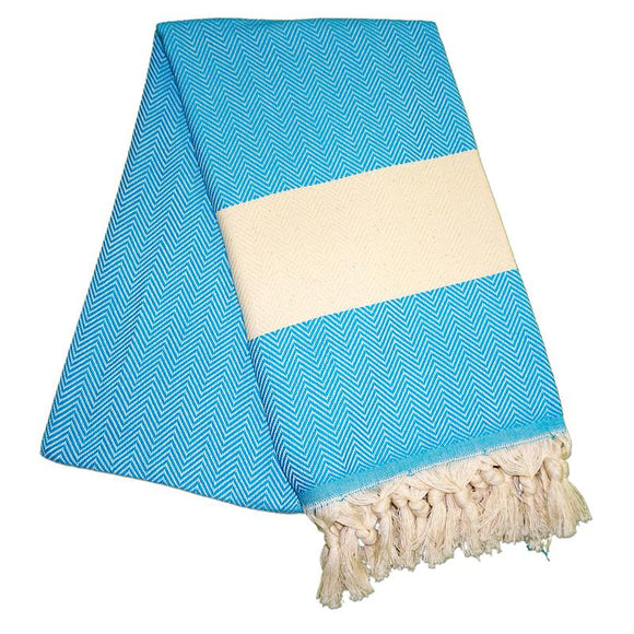 Balik Sirti Turquoise Blue Turkish Towel