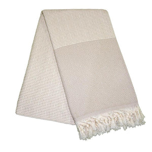 Cizgili Elmas Almond Brown Turkish Towel