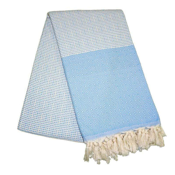 Cizgili Elmas Baby Blue Turkish Towel