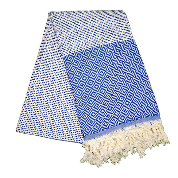 Cizgili Elmas Berry Blue Turkish Towel