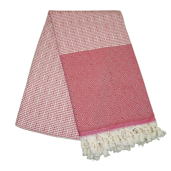 Cizgili Elmas Berry Red Turkish Towel