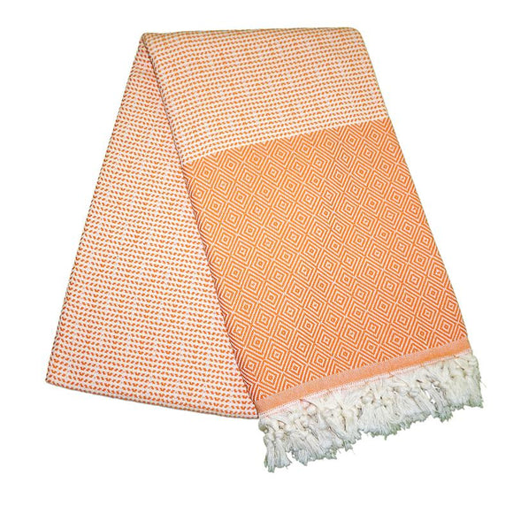 Cizgili Elmas Carrot Orange Turkish Towel