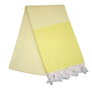 Cizgili Elmas Pineapple Yellow Turkish Towel