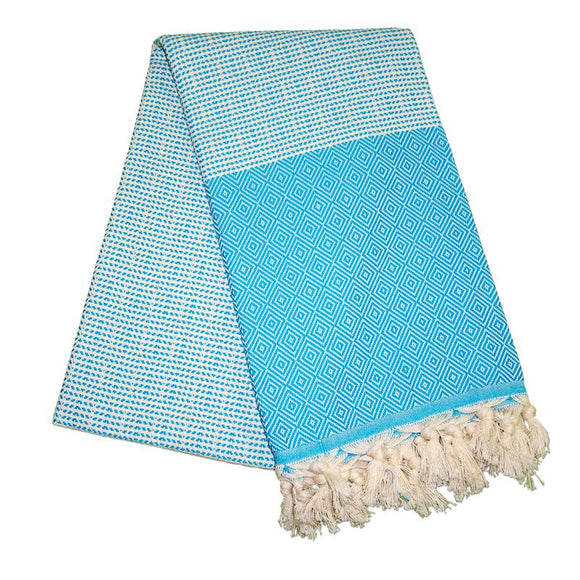 Cizgili Elmas Turquoise Blue Turkish Towel