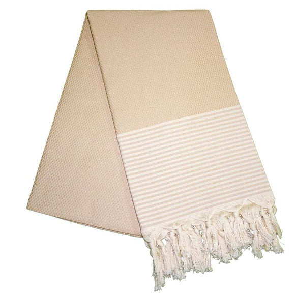 The Original Turkish Towels - Petekli Cizgili Almond Brown Turkish Towel