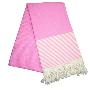 The Original Turkish Towels - Petekli Cizgili Dream Pink Turkish Towel