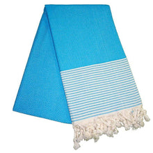 Load image into Gallery viewer, Petekli-Cizgili-Turquoise-Blue-Turkish-Towel-Peshtemal-The-Original-Turkish-Towels-Peshtemals