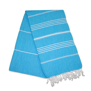 Sultan Turquoise Blue Turkish Towel Round