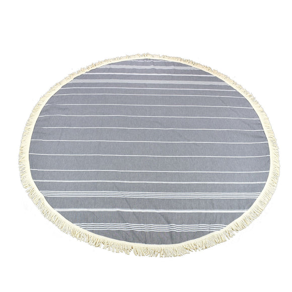 Sultan Round Pebble Grey Turkish Towel Peshtemal