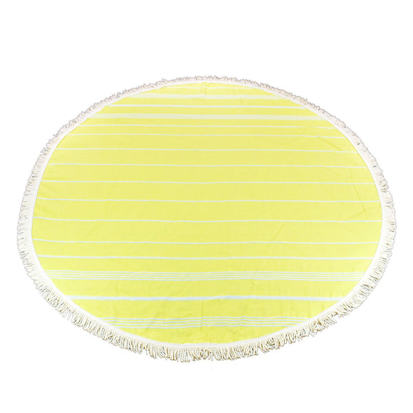 Sultan Round Pineapple Yellow Turkish Towel Peshtemal