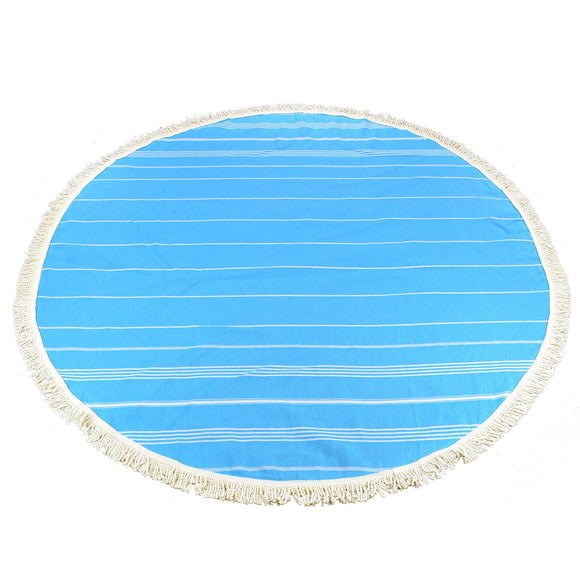 Sultan Round Turquoise Blue Turkish Towel Peshtemal