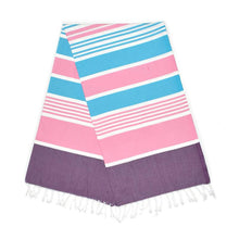 Load image into Gallery viewer, Cleopatra Lilac Purple Dream Pink Aqua Blue Turkish Towel