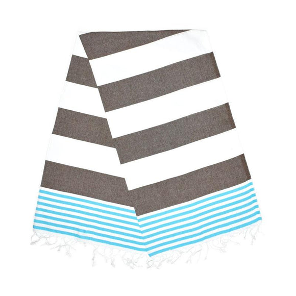 Inka Carob Brown Turquoise Blue Turkish Towel