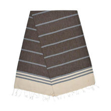Load image into Gallery viewer, Kamil Almond Brown Stone Grey Carob Turkish Towel