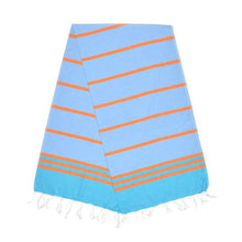 Load image into Gallery viewer, Kamil Aqua Blue Carrot Orange Baby Turkish Towel