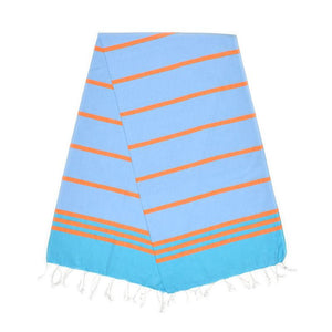 The Original Turkish Towels - Kamil Aqua Blue Carrot Orange Baby Blue Turkish Towel