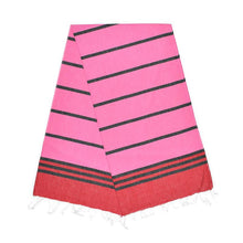 Load image into Gallery viewer, Kamil Berry Red Night Black Bubblegum Pink Turkish Towel