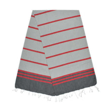 Load image into Gallery viewer, Kamil Pebble Grey Berry Red Stone Turkish Towel
